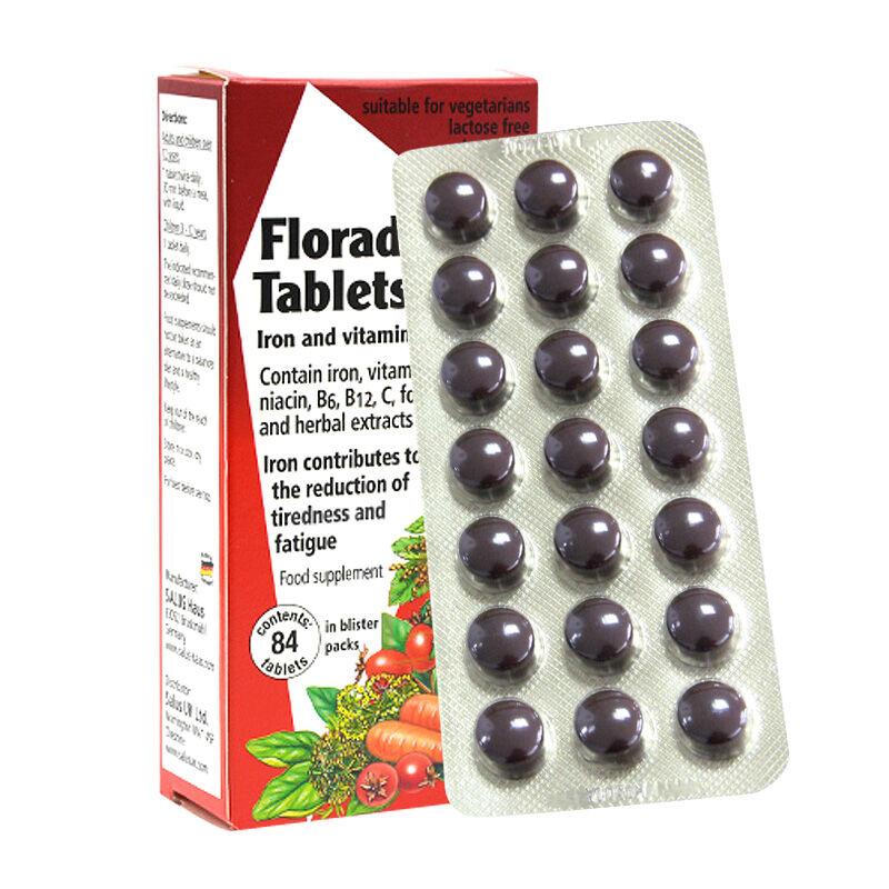 保税直发 Salus Floradix红铁片剂铁元B群维生素片剂84粒 女性孕妇补血补气