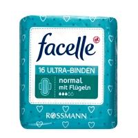 德国 Rossmann超市热销同款 德国facelle超薄透气卫生巾 无香无荧光剂 日用3滴水 23cm 16片/包