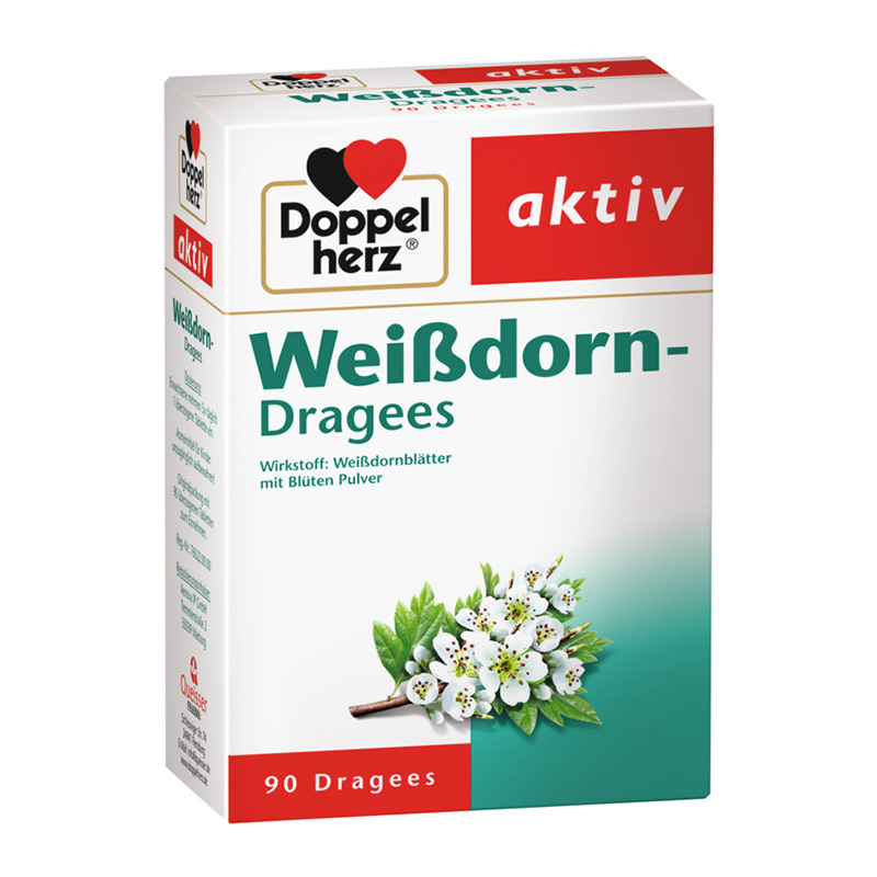 德国Doppelherz双心 山楂花精华胶囊 防心痛 Weisdorn Dragees 90粒