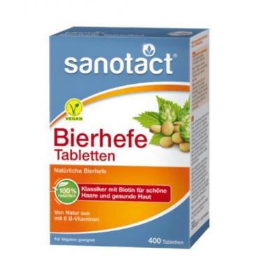 德国直邮 Sanotact Bierhefe Tabletten纯天然啤酒酵母片 400粒装