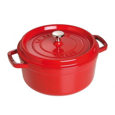 【中秋优惠】德国直邮 法国Staub Round Cocotte Pot 珐琅铸铁锅 圆底 红色Kirschrot 22cm